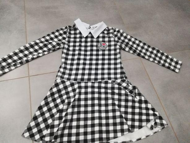 R. 152 ładna sukienka w kratkę dla dziewczynki z kołnierzykiem