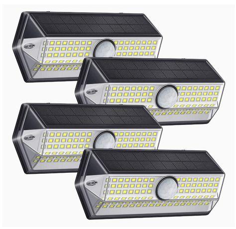 4 Luminárias LED para iluminação exterior com painel solar