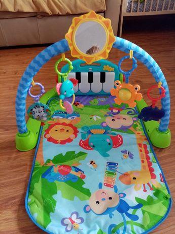 Mata edukacyjna fisher price z pianinkiem i zabawkami