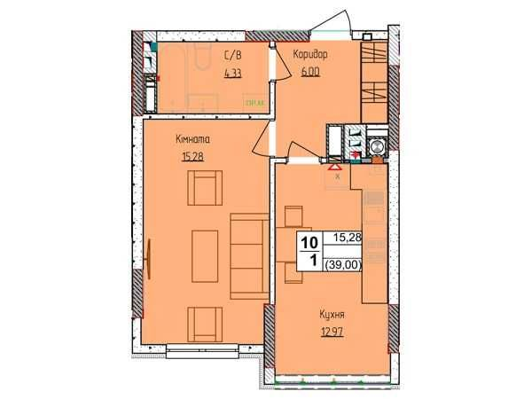 """1к. квартира 39м2, ЖК """"Піонерський квартал 2"""""""