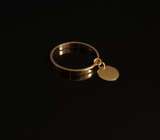 Złoto 585-Złoty pierścionek ,obrączka z kółeczkiem rozmiar 12