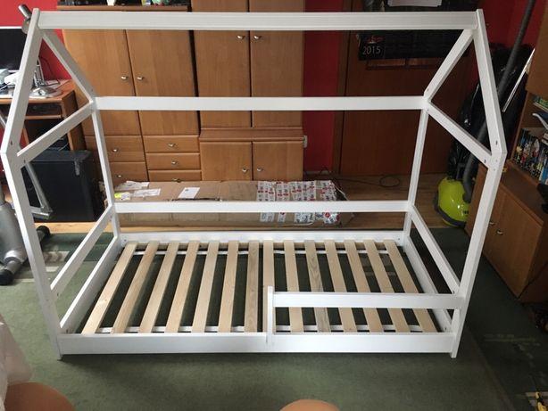 Łóżko domek sosna 160 białe łóżko w kształcie domku dla dzieci