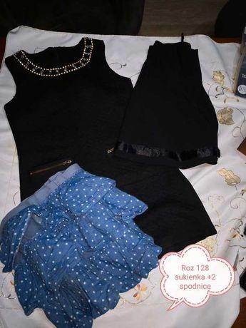 Czarna  Sukienka i spodnica (2szt) roz 128