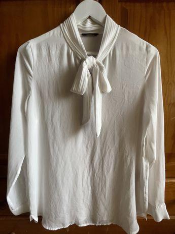 Camisa branca de laço Sacoor S senhora