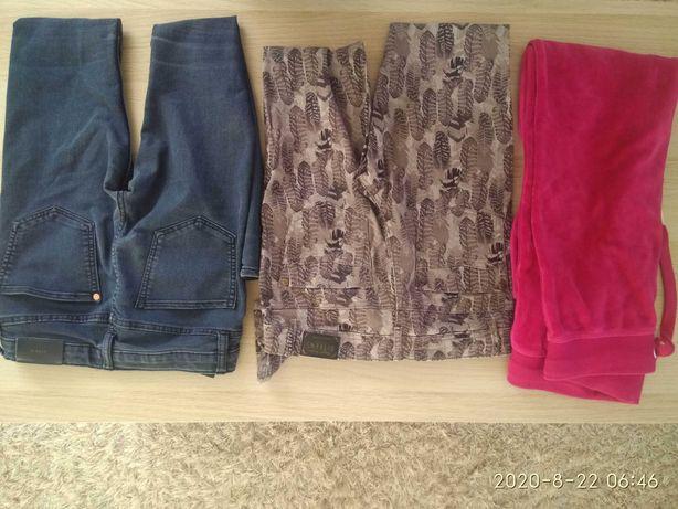 Zestaw spodni 134 140 jeansy jegginsy dres spodnie