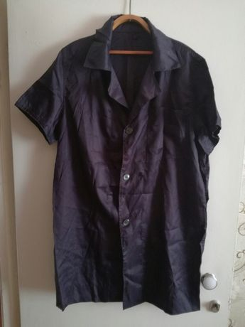 Шелковый темносиний халат