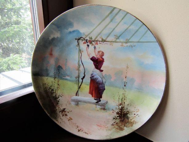 Старинная настенная тарелка  32 см. живопись на фарфоре Европа