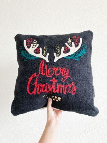 Новогодняя подушка / вышитый чехол на подушку / наволочка на подушку