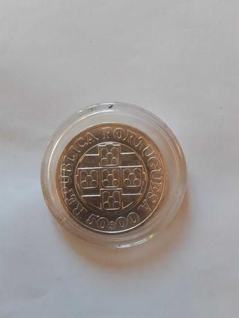 Moeda 50 escudos Banco de Portugal em prata