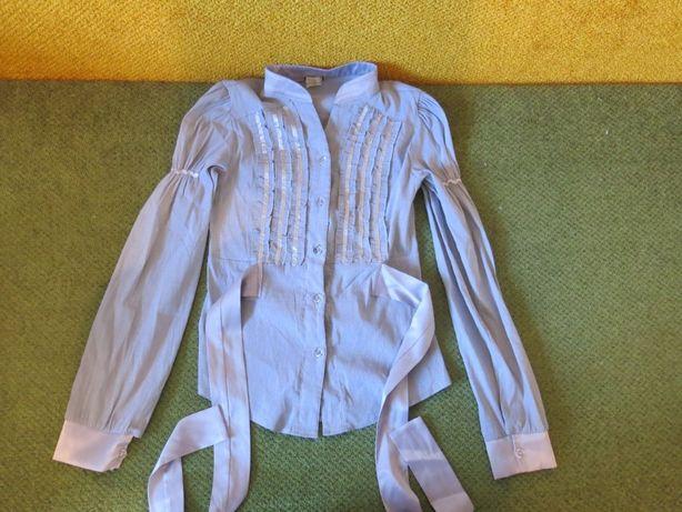 Школьная серая блузка с длинным рукавом р 146-152 ( 9-11 лет)