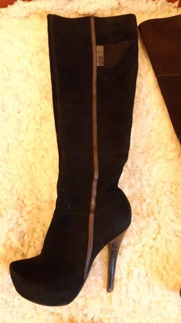 Сапоги замшевые коричневые и чёрные на каблуке 35-36