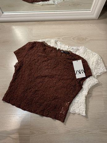 Топы  футболки  Zara ажурные с кружевом m-l