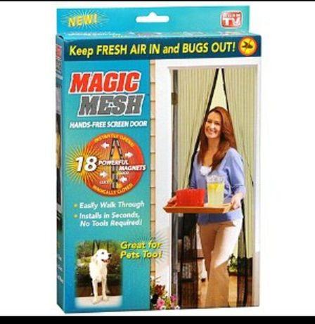 Антимоскитная штора на дверь на магнитах сетка москитная Magic Mesh