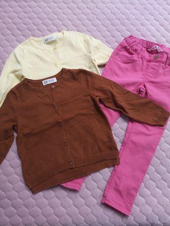 Sweterki swetry rozpinane, spodnie hm 104