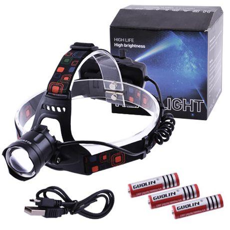 Мега мощный налобный фонарь XQ-218-HP50, Power bank,индикация заряд