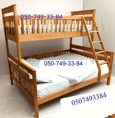 """Двухъярусная """"Адель 2в1"""".Трех спальная кровать (190*120) с ольхи."""