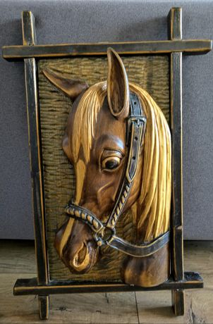 Piękna, stara, płaskorzeźba, obraz, koń, 3D, drewniana, stan idealny,