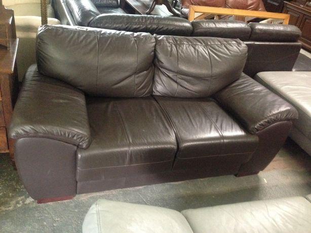 Piękna sofa kanapa brązowa jak nowa skórzana skóra naturalna DOWÓZ