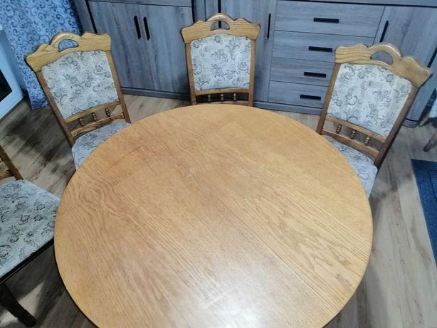 Stół +4 krzesła dębowe i shabby chic