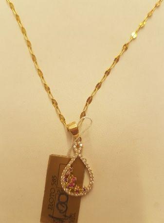 Złoty damski łańcuszek + piękna zawieszka pr.585. Unikat !!
