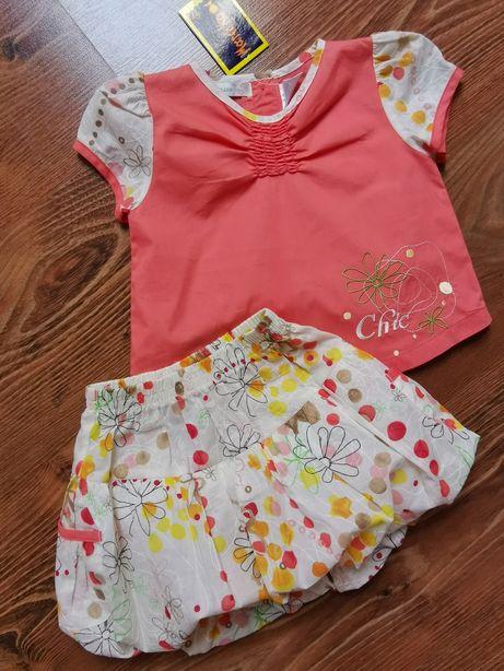 NOWY śliczny komplet dla dziewczynki bluzeczka i spódnica