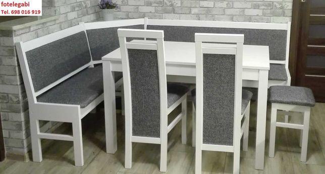 Narożnik kuchenny rogówka + stól + 2 krzesła + taboret BIAŁy