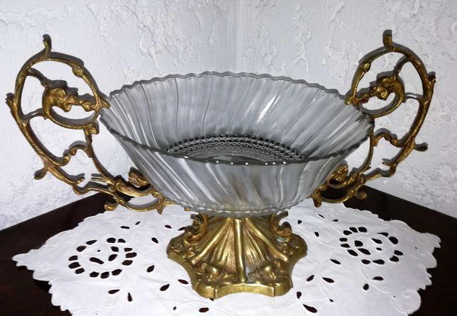 Fruteira Antiga com taça em vidro, asas e pé em metal