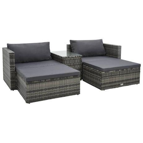 vidaXL 5 pcs conjunto lounge de jardim c/ almofadões vime PE cinzento 47814