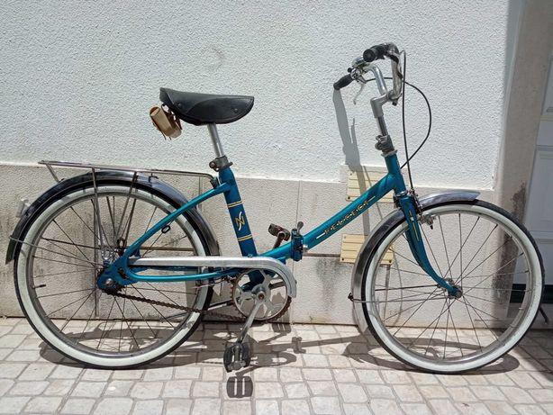 Bicicleta Peugeot NS dobravel clássica azul  roda 500A