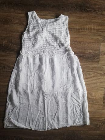Biała sukienka z haftem Unisono rozmiar uniwersalny