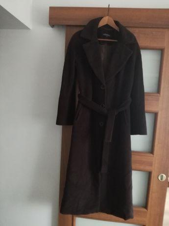 Molton długi brązowy płaszcz zimowy S M 38 36
