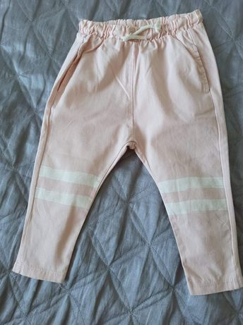Zara 86 92 cm spodnie joggersy z łączonych materiałów