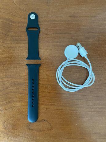 Bracelete preta silicone + cabo de carregamento apple watch