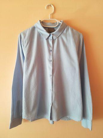 biała jasnoniebieska koszula w paseczki paski bawełniana S