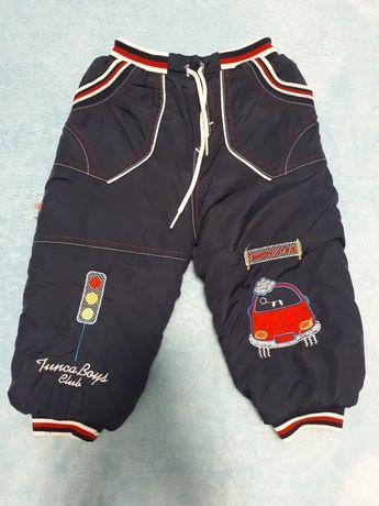 Теплые штаны на травке на мальчика 1 годик 80 - 86 см