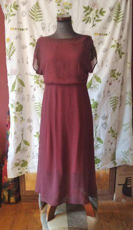 Suknia bordowa rękaw kimonowy handmade, r. L