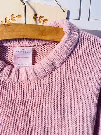 Pudrowy roz sweter sweterek zara