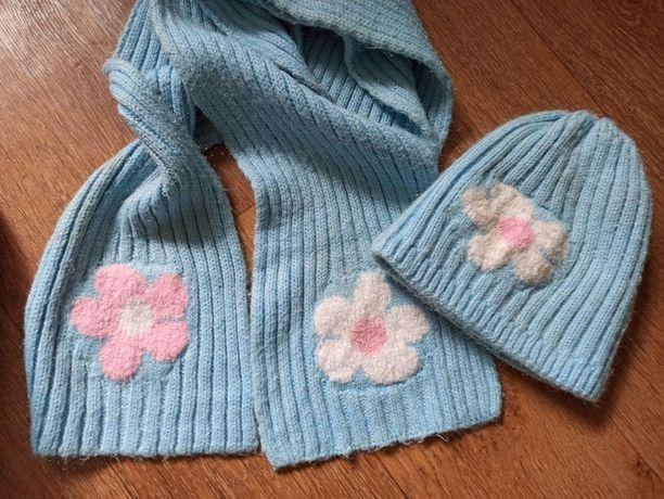 зимний комплект шапка и шарф для подростка