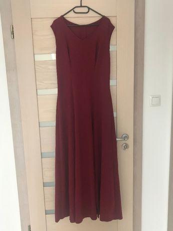 Sukienka bordowa długa 40-42