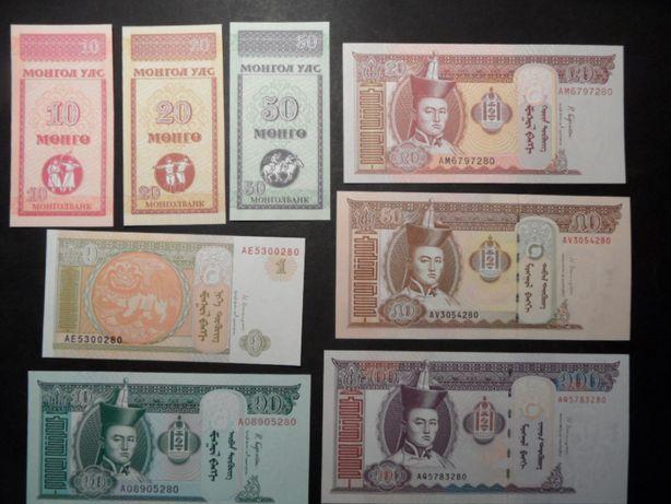 zestaw banknotów unc Mongolia 8 sztuk
