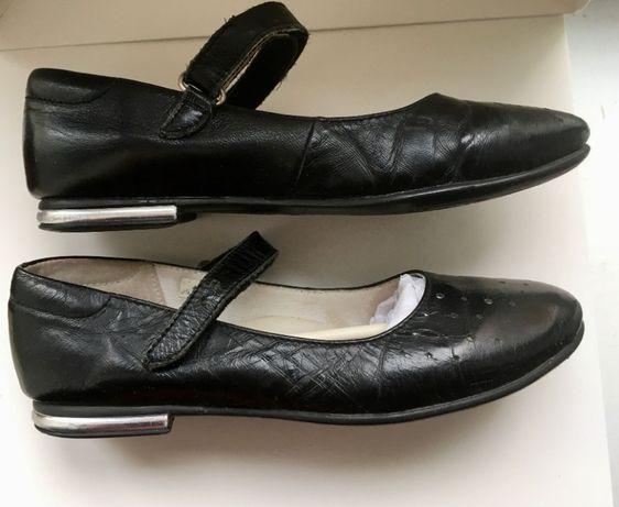 Туфли дев чёрные натуральная кожа Lapsi размер 33 стелька 21 см