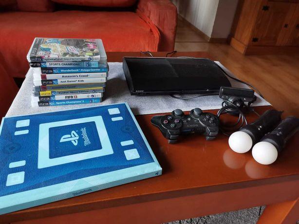 Play station 3 PS3 wraz z kierownicą oraz grami .dysk twardy