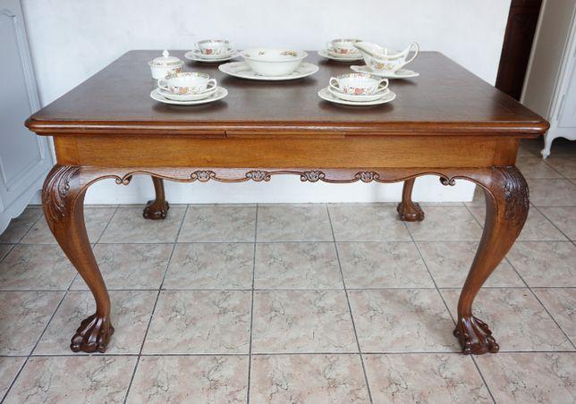 mały stół ludwikowski na lwich łapach ludwik rozsuwany antyki drewnian