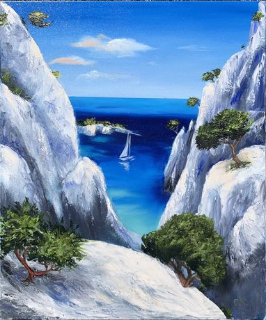 "Картина маслом холст ""Mediterranean landscape"""