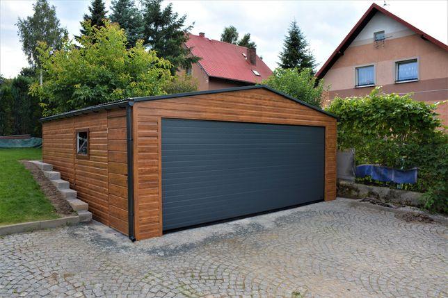 Garaz blaszany drewnopodobny, z profili ocynkowanych 6x6, 6x5,8 35m2,