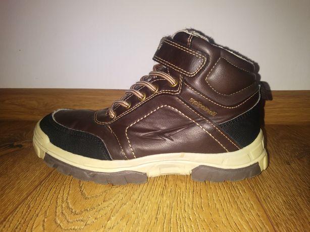 Brązowe ocieplane buty dla chłopca rzep r.34 35
