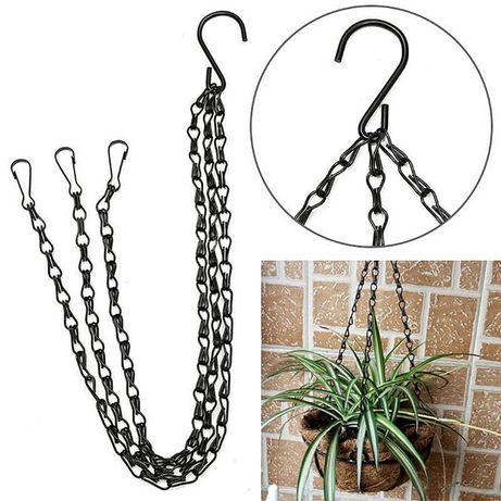 1 gancho + 3 correntes Suporte metálico cesto suspender vasos plantas
