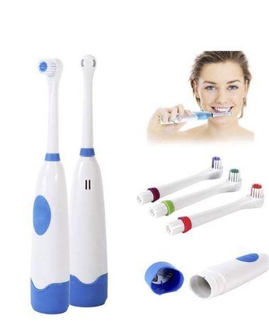 Электрическая зубная щетка с насадками Electric ToothBrush на батарейк