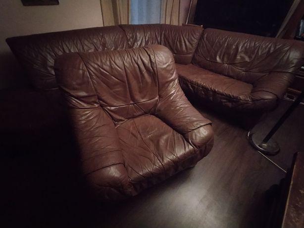 Skórzany komplet brąz duży narożnik + fotel OKAZJA