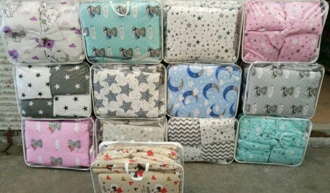 Набор постельного белья 9в1 в детскую кроватку (бортики подушечки)